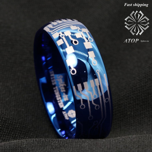 8mm Shiny Blue Dome Tungsten Carbide Ring Laser Circuit Board ATOP Men's Jewelry Free Shipping
