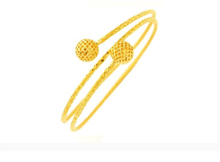 New Arrival Luxurious 999 Solid 24K Yellow Gold Hollow Ball Women's Bangle 18.24g