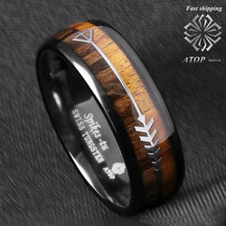 8mm Black Dome Tungsten Ring 2 Style Wood Arrow Wedding Band ATOP Men Jewelry