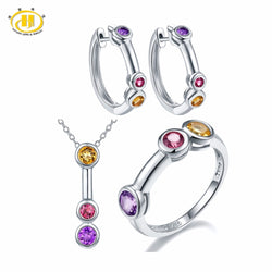Hutang Jewelry Sets Natural Gemstone Amethyst Rhodolite Garnet Citrine Solid 925 Sterling Silver Fine Bridal Fashion Jewelry New