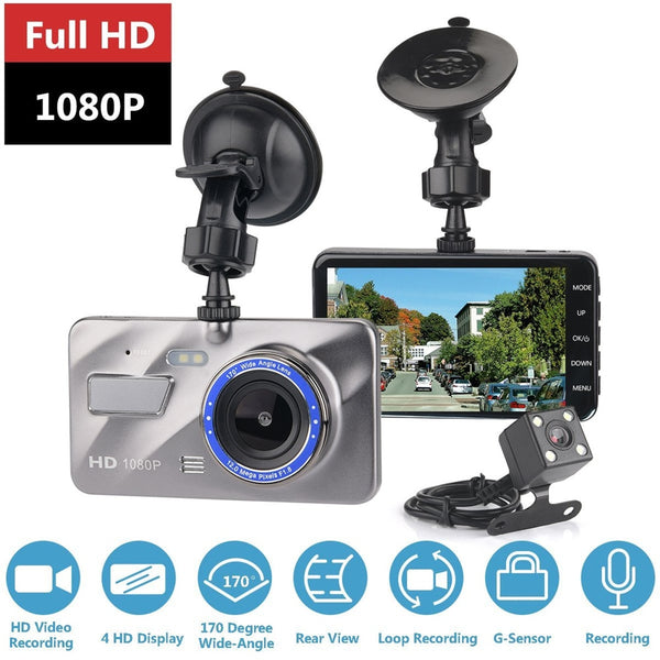 "Dash Cam  Dual Lens Car DVR Camera Full HD 1080P 4"" IPS Front+Rear Night Vision Video Recorder Parking Monitor Auto"