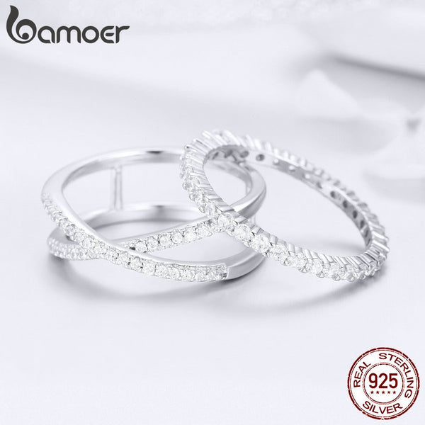 2pcs Authentic 925 Sterling Silver Dazzling CZ Geometric Finger Rings for Women Wedding Engagement Jewelry anel SCR463