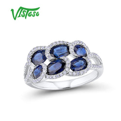 VISTOSO Gold Rings For Women Genuine 14K 585 White Gold Ring Sparkling Blue Sapphire Diamond Wedding Engagement Fine Jewelry