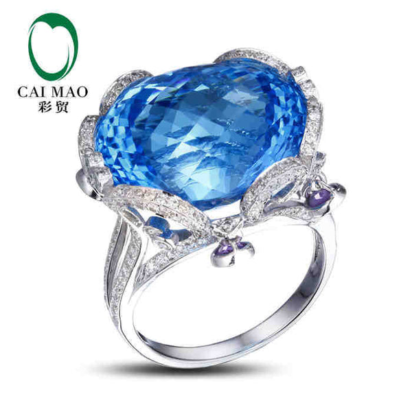CaiMao 18KT/750 White Gold 37.45ct Natural Blue Topaz &  1.01 ct Full Cut Diamond Engagement Gemstone Ring Jewelry