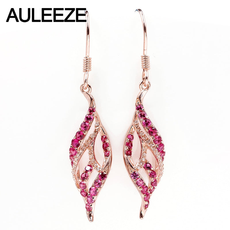 AULEEZE Trendy 100% Natural Ruby 18K Rose Gold Drop Earrings For Women Real Diamond Wedding Fine Jewelry