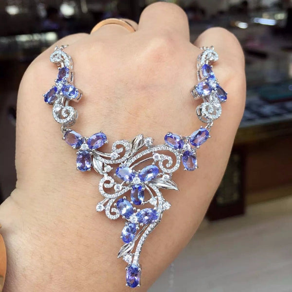 Natural tanzanite necklace, luxury necklace, cocktail party jewelry, woman mature charm, 925 silver