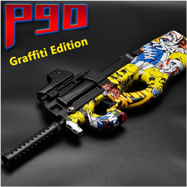 Electric P90 Graffiti Edition Toy Gun Live CS Assault Snipe Simulation Weapon Outdoor Soft Water Bullet Gun Toys For Boys Kids