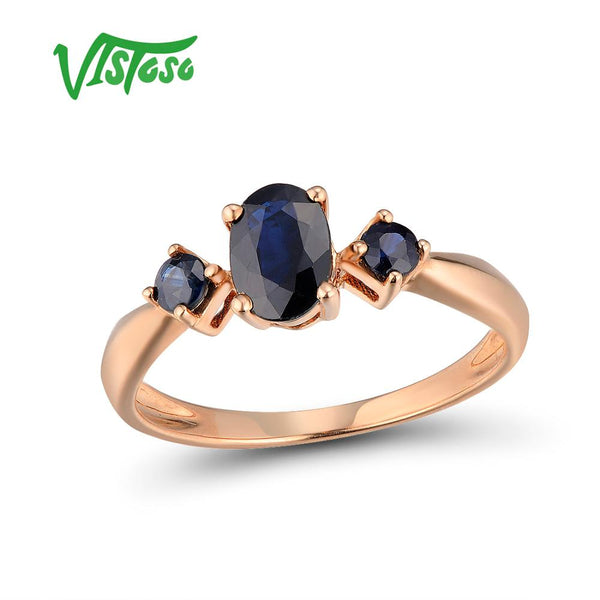 VISTOSO Gold Rings For Women Genuine 14K 585 Rose Gold Ring Shiny Oval Blue Sapphire Engagement Wedding Band Trendy Fine Jewelry