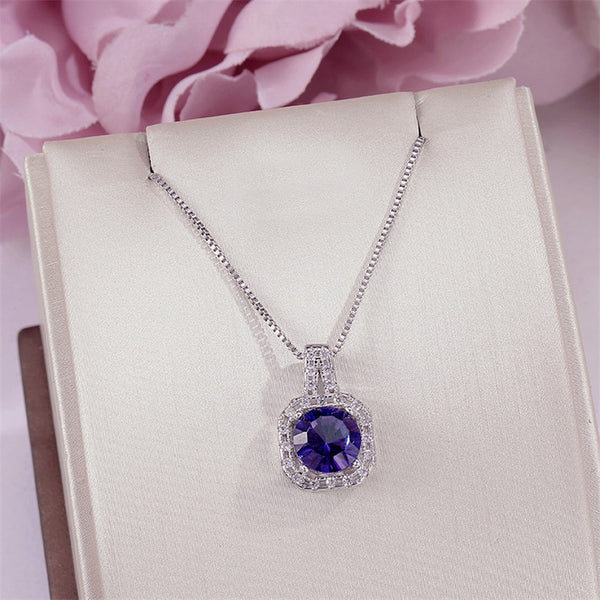 Fine Jewelry Necklace Pendant For Women Solid 925 Silver Tanzanite Natural Blue Square 8*8mm Gemstone Vintage Pendants CCN012