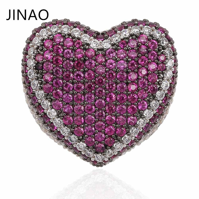 New Fashion Copper Silver Plated Ring Exaggerate High Quality Iced Out CZ Stone Heart Shape Ring Hip Hop Jewelry Men Women Gift