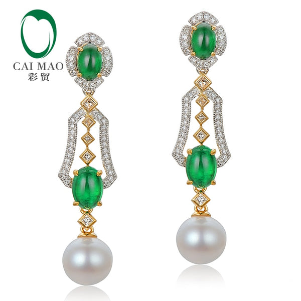 CAIMAO Natural 2.31ctw Cabochon Emeralds and Diamonds 8mm Pearl 18kt Multi-tone Gold Retro English Drop Earrings for Women