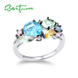 SANTUZZA Silver Ring For Women 925 Sterling Silver Shiny Multi-Color Gem Stones for Women Elegant Party Fashion Jewelry