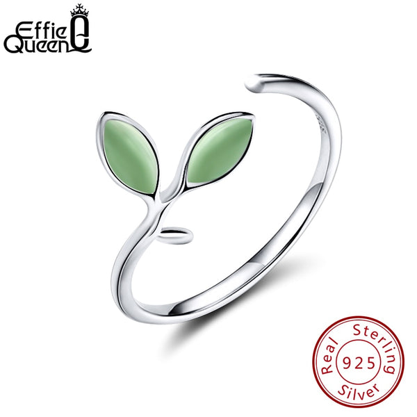 Effie Queen Real 925 Sterling Silver Women Ring Leaf Pattern Green Stone Adjustable Silver Rings Wedding Band Jewelry Gift BR92