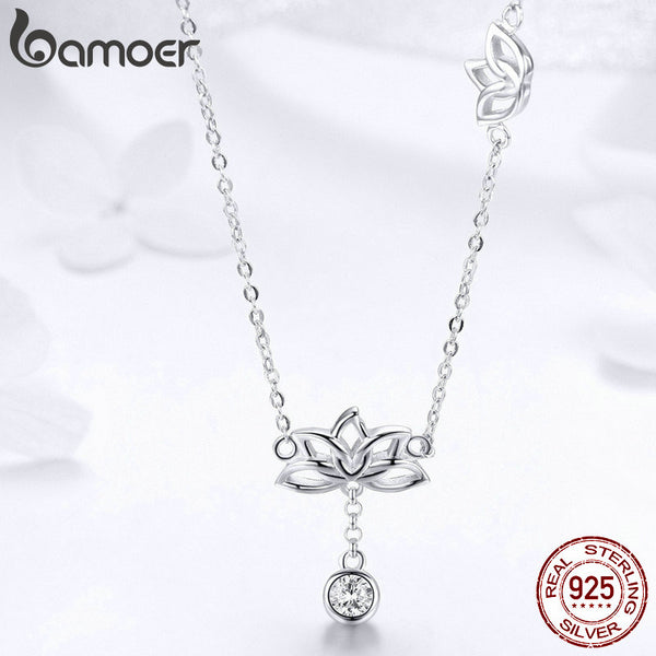 925 Sterling Silver Lotus Flower Pendant Necklaces for Women Clear Cubic Zircon Necklaces Jewelry BSN012