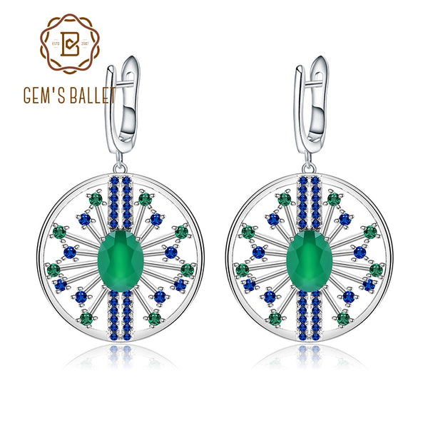 GEM'S BALLET 2.58Ct Natural Agate Gemstone Earrings 925 Sterling Sliver Vintage Palace Drop Earrings For Women Fine Jewelry
