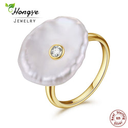 Natural Freshwater Pearl Ring 925 Sterling Silver jewelry Baroque Pearl Gold Rings Fashion Designer for Women Wedding