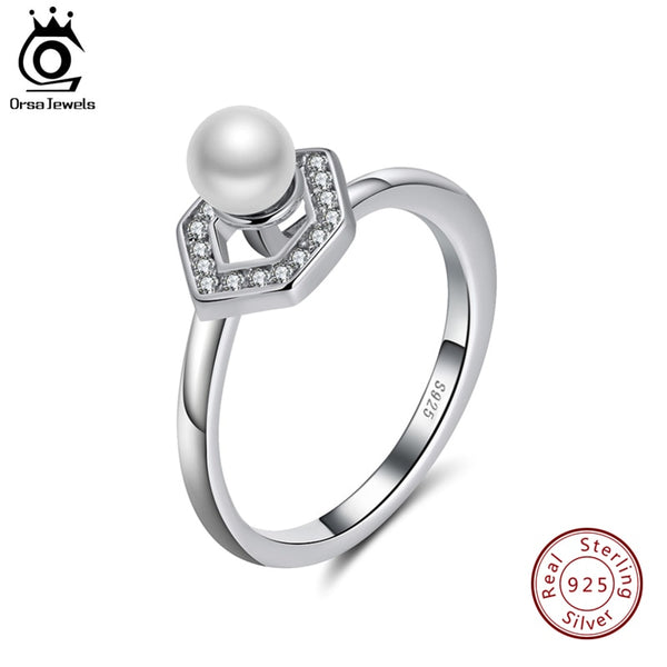 ORSA JEWELS Solid 925 Sterling Silver Rings For Women AAA Cubic Zircon Genuine Pearl Female Fashion Party Jewelry SR95