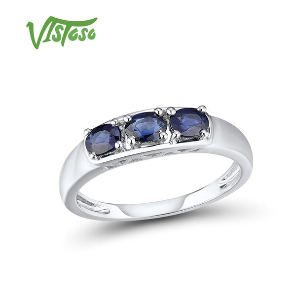 VISTOSO Gold Rings For Women Genuine 14K 585 White Gold Ring Sparkling Blue Sapphire Luxury Engagement Anniversary Fine Jewelry