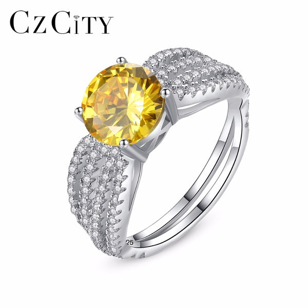 CZCITY Genuine 925 Sterling Silver Luxury Yellow Birthstone Rings for Women Fashion Tassel Design Bridals Engagement Jewelry