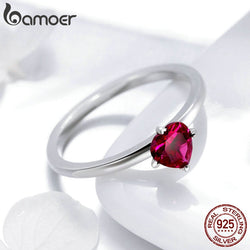 925 Sterling Silver Red Heart Pave Crystal CZ Finger Rings for Women Fashion Wedding Valentine's Day GIFT Jewelry SCR389