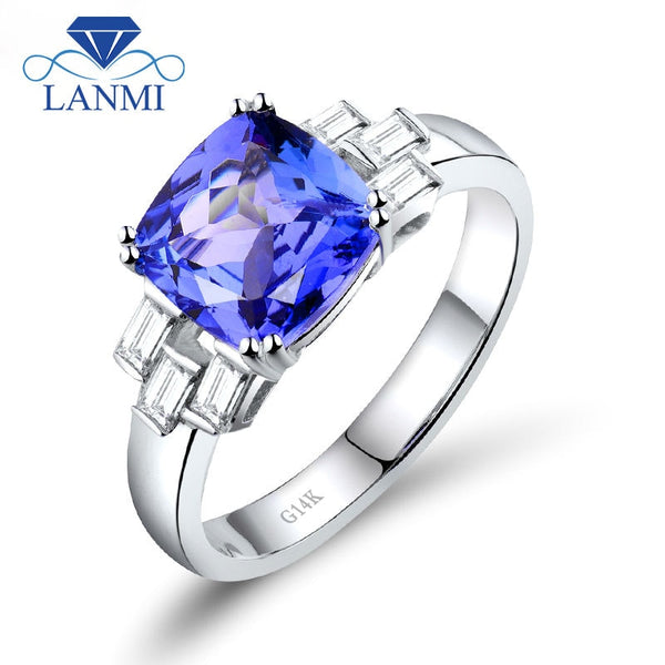Rings For Women Gorgeous Vintage Cushion 8x8mm Solid 14k White Gold  AAAA Tanzanite Engagement Ring Promised Diamond Jewelry