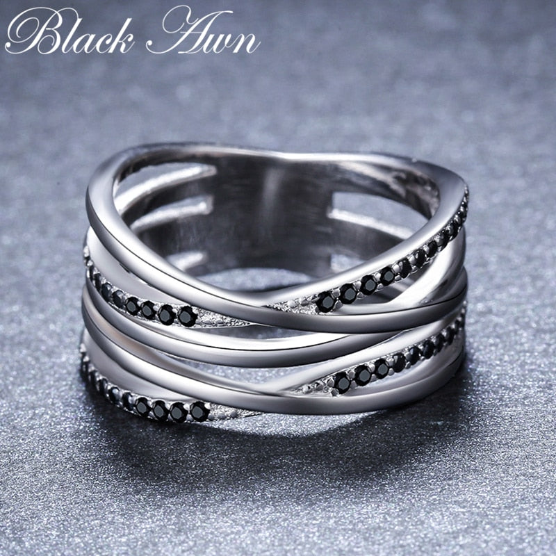 925 Sterling Silver Fine Jewelry Engagement Black Spinel Round Engagement  Ring for Women Anillos Mujer G063