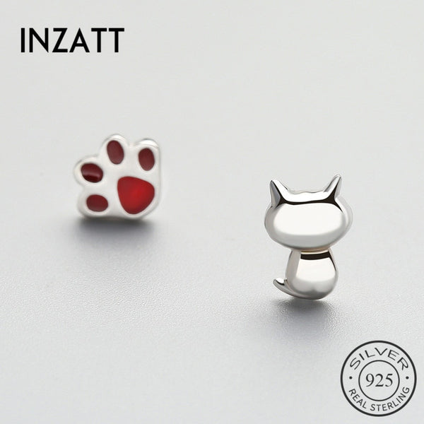 INZATT Asymmetry Red Enamel Glossy Cut Stud Earrings For Women Party Punk Accessories Fine Jewelry 925 Sterling Silver Cute Gift