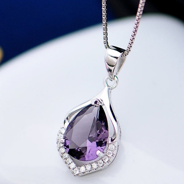 Wedding Gift Amethyst Zircon 925 Sterling Silver Necklace Pendant Charm CA88