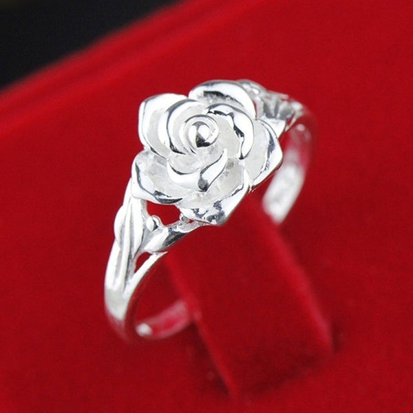 Wholesale European Fashion Woman Girl Party Wedding Gift Silver Rose S925 Sterling Silver Ring RR289