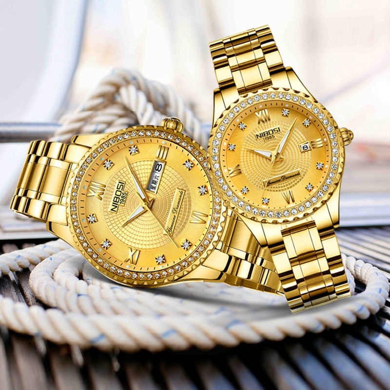 NIBOSI Couple Watch Relogio Feminino Women Watches Quartz Mens Watches Top Brand Luxury Lover Watches Gold Quartz Wristwatch