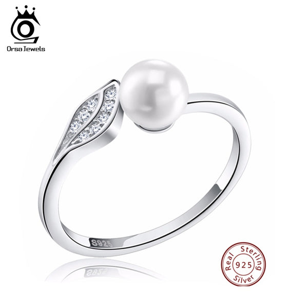 ORSA JEWELS Silver 925 Leaf CZ Rings Reliable  with Big Simulated Pearl Sterling Silver Jewelry for Women SR16