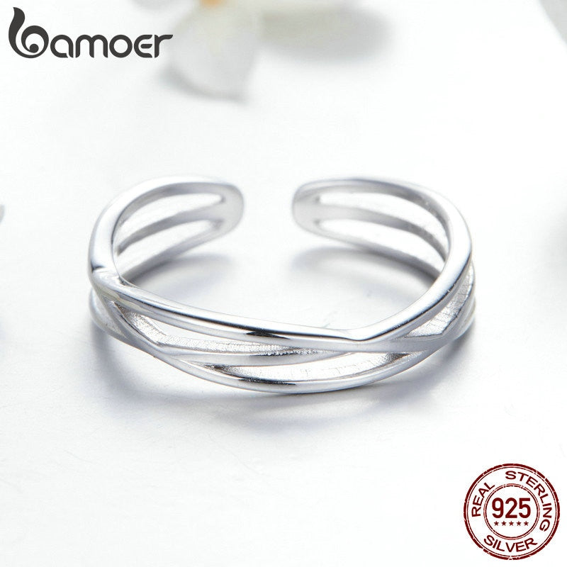 925 Sterling Silver Geometric Twisted Wave Open Size Finger Rings Women Wedding Engagement Jewelry SCR483