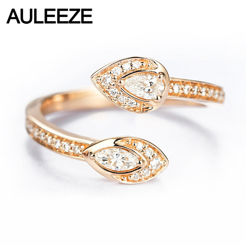 AULEEZE Snake Head 0.2ctw Real Natural Diamond Ring 18k Rose Gold Pear Shape and Marquise Shape Diamond Party Rings For Women