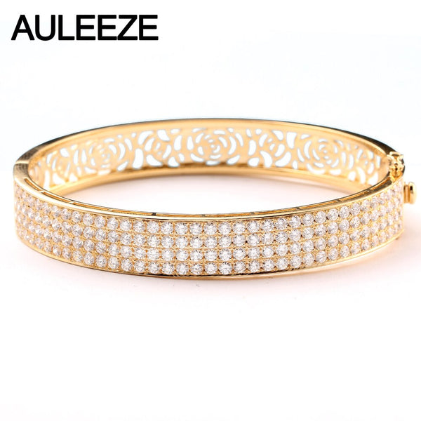 AULEEZE Luxury 6.3cttw Moissanites Bangle 14K Yellow Gold Multi-Row Lab Grown Diamond Bracelets For Women Wedding Fine Jewelry