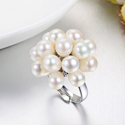 Natural Freshwater Drop Pearl Ring Jewelry 4-5mm Flower Adjustable Rings For Women White Pink Multi Black color