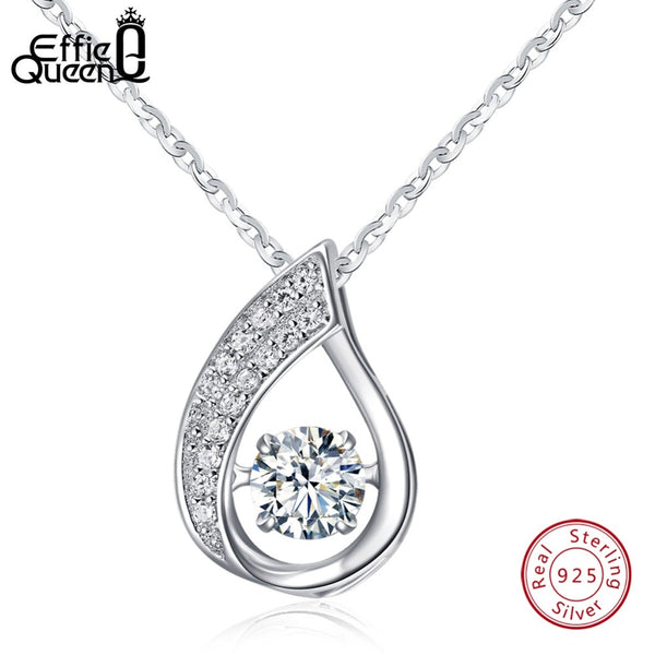 Effie Queen Solid 925 Sterling Silver Women Necklace New Flickering Zircon Design Ladies Pendant Necklaces Jewelry BN41
