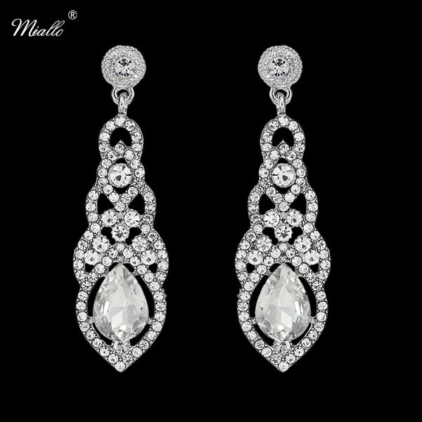Miallo Fashion Long Bridal Dangle Earrings for Women Wedding Baroque Water Drop Crystal Clear Earrings