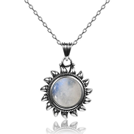 Natural Moonstone 925 silver jewelry Pendants Necklaces For Women Men Sun Geometric Shape Vintage Fashion Woman Pendants Hotsale