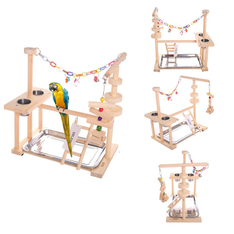 Parrot Playstand Bird Play Stand Cockatiel Playground Wood Perch Gym Playpen Ladder with Feeder Cups Toys (Include a Tray)