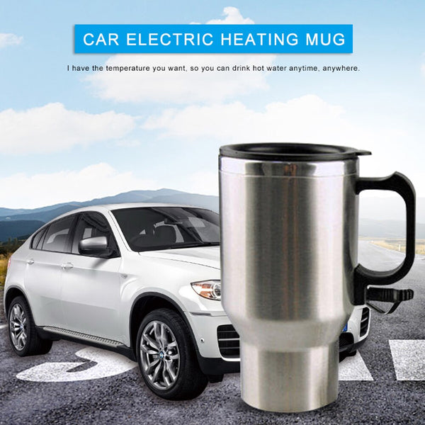 450ml Auto Car Electric Cup Stainless Steel Vacuum Flask Thermos Mug 12V Car Cigarette Lighter Automatic Heating Cup Travel