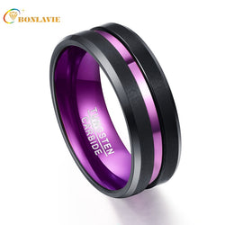 Purple Inner Ring Scrub Groove Men Rings Tungsten Carbide Anillos para hombres Male Fashion Jewelry Drop Shipping
