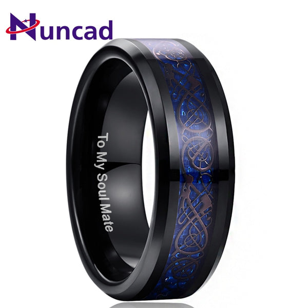 Nuncad Blue Dragon Tungsten Carbide Soul Mate Ring Men Jewelry Wedding 8MM Wide Plating Black Rings Best Gift for Husband