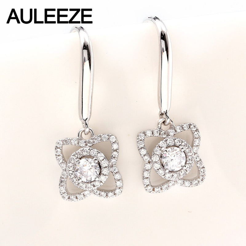 AULEEZE Natural Real Diamond Drop Earrings Solid 18K White Gold Earrings For Women Office Lady Fine Jewelry