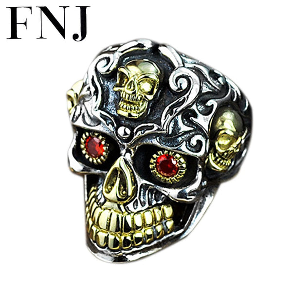 Punk 925 Silver Skull Rings Skeleton Adjustable Size Vintage Trendy S925 Solid Thai Silver Ring for Men Jewelry