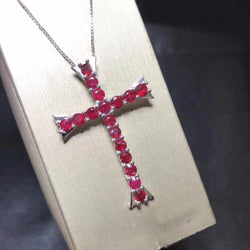 Almei Natural Tested Ruby Necklace for Women, 925 Sterling Silver Cross Jewelry, 3*6mm*13 Pcs Velvet Box Certificate FN185