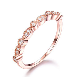 925 Sterling Silver Rings For Women Stacked Band Rose Color Pink Wedding Engagement Ring Minimalist Fine Jewelry Classic