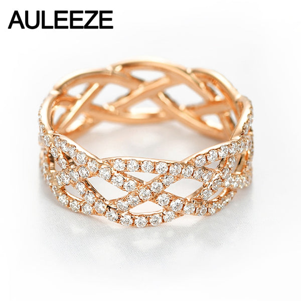 AULEEZE Wave 0.96ctw Real Diamond Eternity Bands Solid 18K Rose Gold Diamond Engagement Ring For Women Fine Jewelry