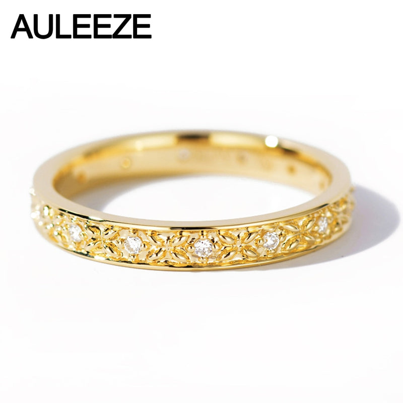 AULEEZE Real Natural Diamond 18k 750 Yellow Gold Wedding Rings Exquisite Pattern Diamond Bands For Office Lady Jewelry
