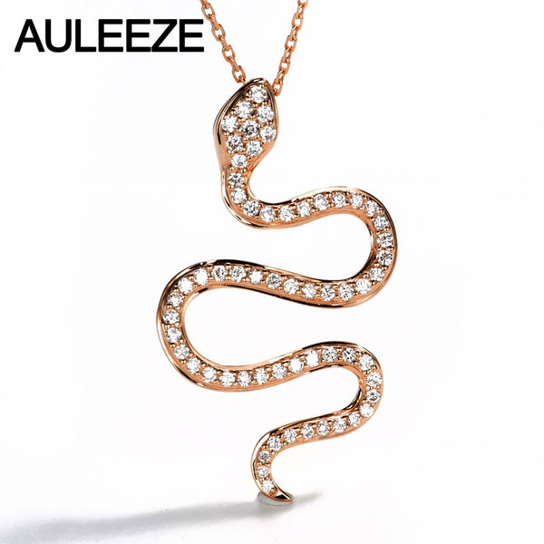 AULEEZE Elegant Snake Shape Diamond Pendant Necklace 0.50cttw Real Diamond Jewelry 18K Rose Gold for Women Gift