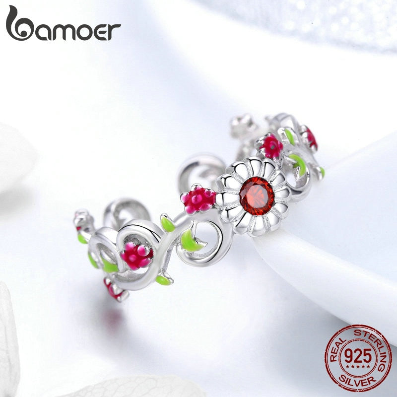 925 Sterling Silver Blooming Branch Flower Leaves Adjustable Finger Rings Women Sterling Silver Jewelry BSR023